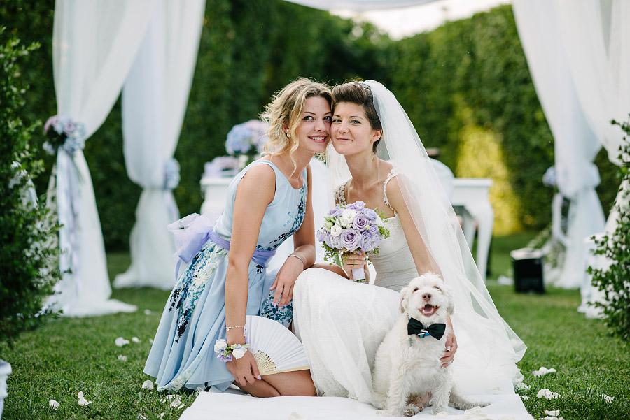 ritratto sposa con cane