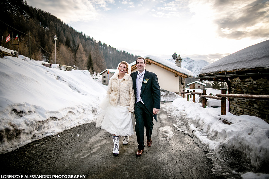 snow wedding italy